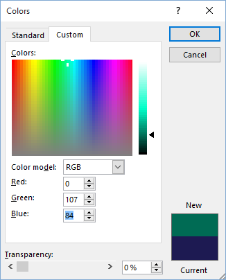 Apply Custom Color RGB to Excel