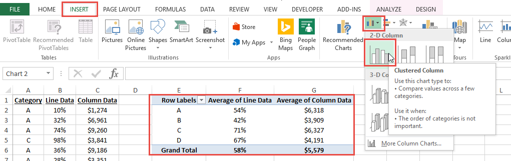 Excel dashboard templates how to create a combo line and column insert excel pivot chart pronofoot35fo Choice Image