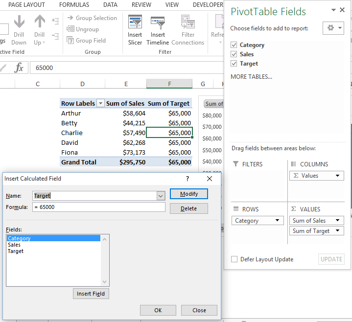 Add Pivot Table Calculated Field for Pivot Chart Target LIne