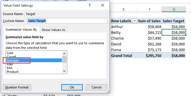 Pivot Table Goal Data Summarize Value Field by Average