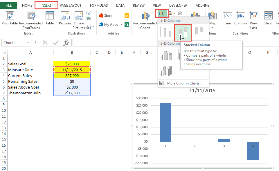 Insert Ribbon Excel Stacked Column Chart