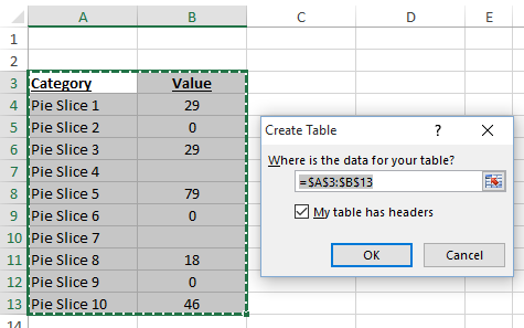 Excel Table Options