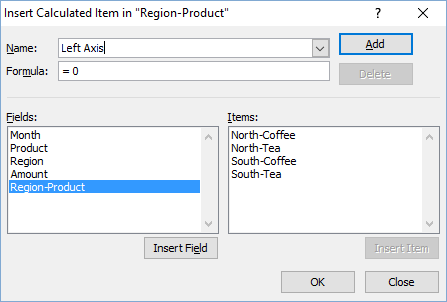 Pivot Table Add Calculated Item Details