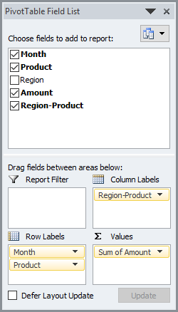 Stacked Column Chart with 2 Axes Pivot Table Fields