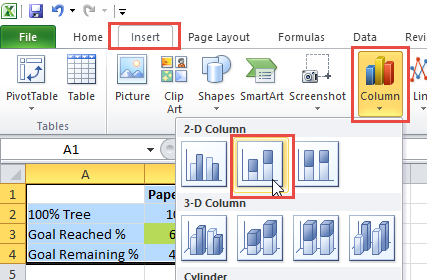 Insert Stacked Column Chart for Single Image Tree Goal Graph